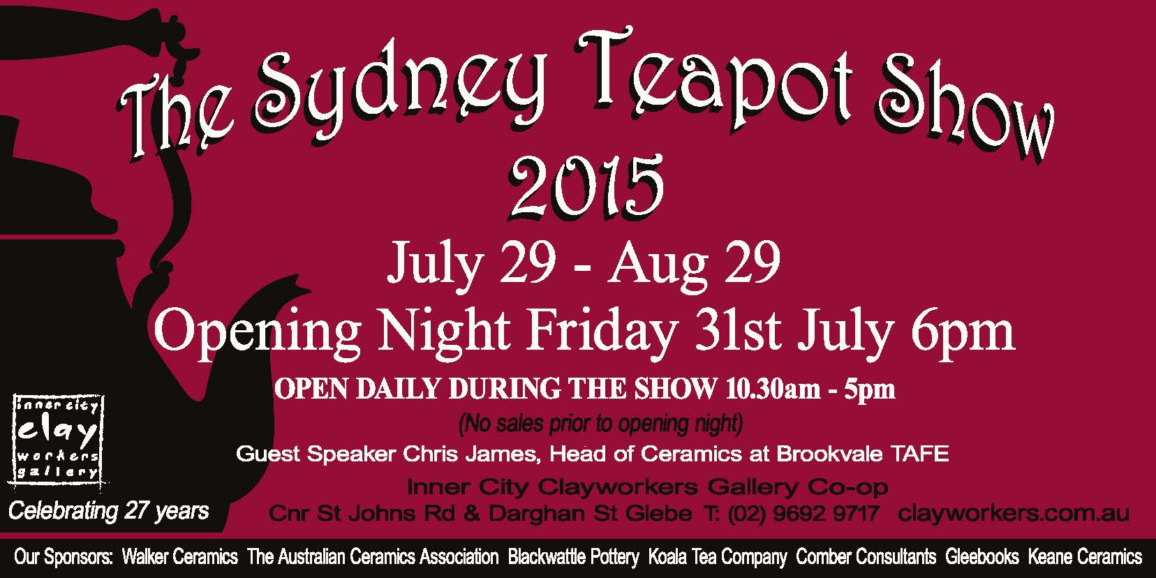 The 27th Sydney Teapot Show- Opening night Friday 31st ...